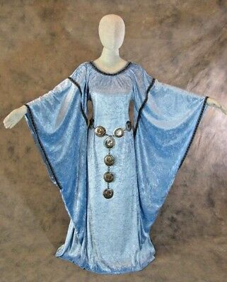Sky Blue Medieval Bell Sleeve Dress Gown Game of Thrones Cosplay LARP 4X 5X