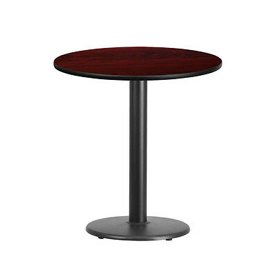 24'' Round Mahogany Laminate Table Top With 18'' Round Table Height Base