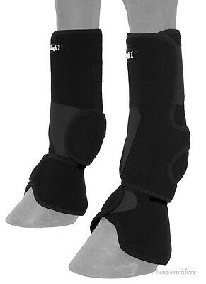 Horse Protective Sport & Bell Boots Combination in 1 - Vented - Black - Medium