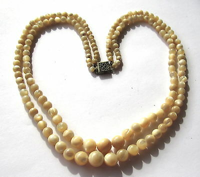 "16"" Double Strand Necklace Of Small Graduated Mother Of Pearl Antique Beads"