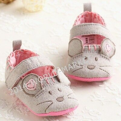 NEW Lovely Mouse Non-slip Baby Boy Girl Crib Shoes Toddler 6-12 Months 12cm  #FB