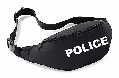 POLICE Belt Bag Black Funny Printed Fancy Dress Costume Outfit Bum Waist Pack