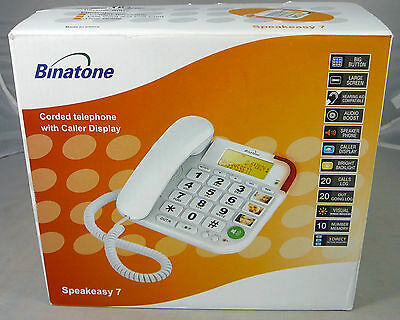 Binatone Speakeasy 7 White Corded White Big Button Home Telephone Phone