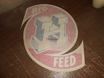 VINTAGE HONEGGER FEED Big H Dealer Window Decal Sticker 16 X 12 inches