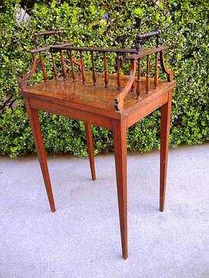 MOST UNUSUAL ANTIQUE PETITE CANTERBURY TABLE WITH TOP RAIL & HANDLES
