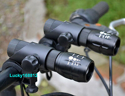 Cree Q5 LED Zoomable Bike Cycling Bicycle Head Light Front Flashlight Torch 2SET
