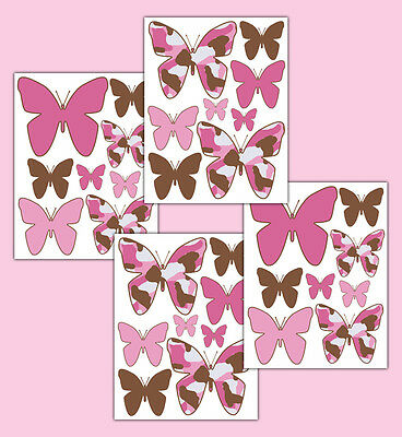Pink Brown Camo Butterfly Wall Decals Baby Girl Camouflage Nursery Sticker Decor