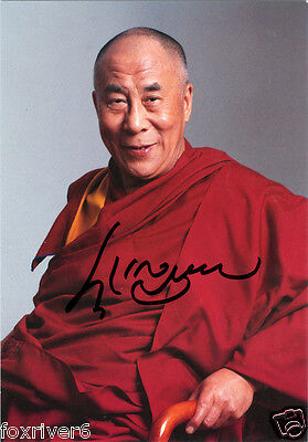 DALAI LAMA Signed Photograph Tibetan Buddhism Nobel Peace Prize Winner -Preprint