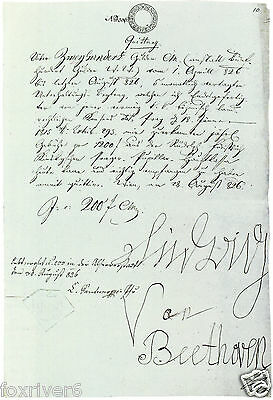 LUDWIG VAN BEETHOVEN Signed Document - Classical Composer - Preprint