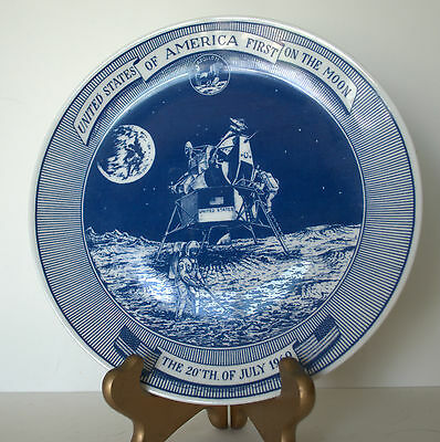 Vintage USA America First On The Moon Plate Denmark signed artist Fagerberg