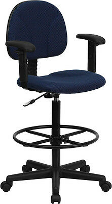 Blue Fabric Drafting Stool Chair with Footring and Arms