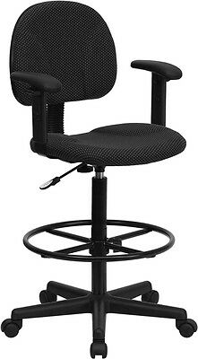 Black Fabric Drafting Stool Chair with Footring and Arms