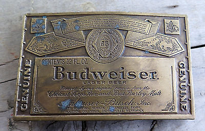 Budweiser Beer Alcohol Bergamot Brass Works 1970's Vintage Belt Buckle