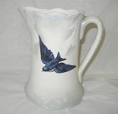 Antique 7 5 8 Quot Blue Bird China Water Pitcher Unsigned