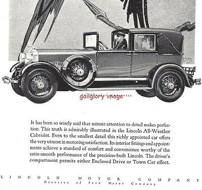 1928 Lincoln 2 Vintage Auto Print Ads All-Weather Cabriolet And Sport Phaeton