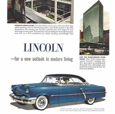 1952 Lincoln 3 Vintage Auto Print Ads For A New Outlook In Modern Living