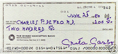 GRETA GARBO Signed Cheque / Check - Film Star Actress