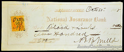 Obsolete Bank Check 1868 National Insurance Bank Detroit Michigan W/ Stamp.