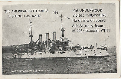 Postcard advertising Underwood typewriters showing USA battleship, Stott & Hoare