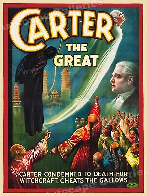 "1920s ""Carter the Great"" Cheats the Gallows Vintage Magic Poster - 24x32"
