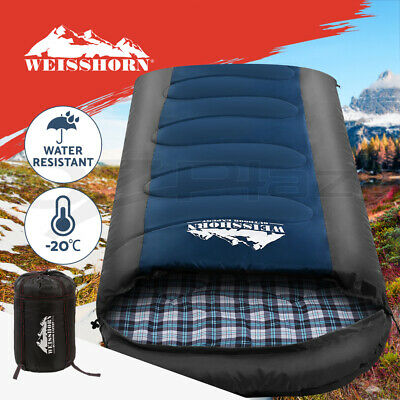 WEISSHORN Camping Sleeping Bag -15°C Extra Large Hiking Carry Bag 220X100CM Blue