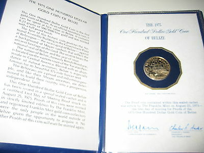 Belize 1975 100 Dollar GOLD PROOF Coin With Letter