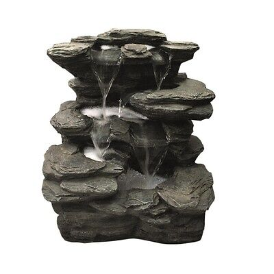 Slate Multi Fall Garden Water Feature with LED Lights
