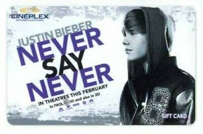 Justin Bieber NEVER SAY NEVER movie gift card Cineplex