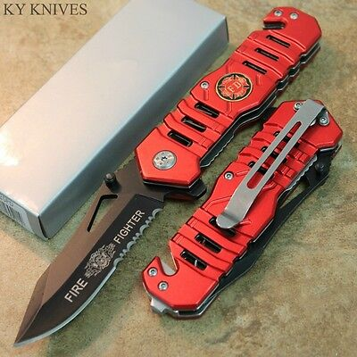 "8"" Fire Dept. RED Assisted Open Rescue Pocket Knife - NEW! SE-925FD zix"