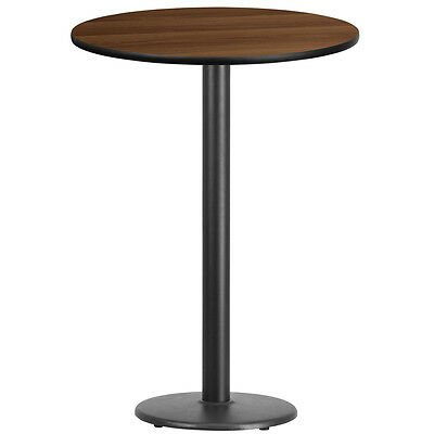 30'' Round Walnut Laminate Table Top With 18'' Round Bar Height Base