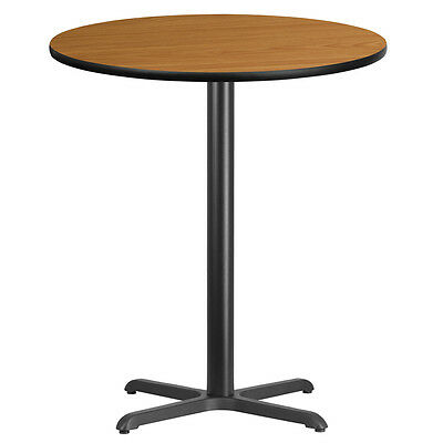 36'' Round Natural Laminate Table Top With 30'' X 30'' Bar Height Base