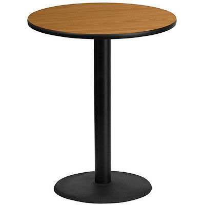 36'' Round Natural Laminate Table Top With 24'' Round Bar Height Base