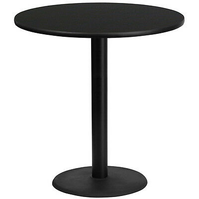 42'' Round Black Laminate Table Top With 24'' Round Bar Height Base
