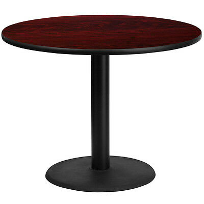 42'' Round Mahogany Laminate Table Top With 24'' Round Table Height Base