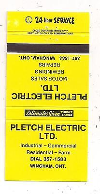 Pletch Electric Ltd. Wingham ON Ontario Matchcover 021415