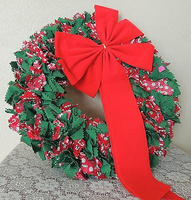 Estate Handcrafted Red Green Candy Cane Rag Wreath Christmas Door Wreath