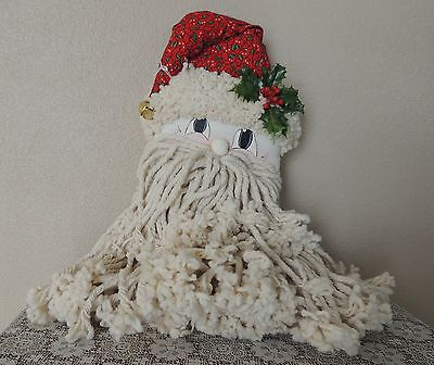 Estate Handcrafted Santa Claus Mop Head Christmas Wreath Wall Decor Large