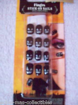 Stick On Finger Nails Black W/ Pumpkin Faces Includes 20 Nails & 1 Sheet Tabs