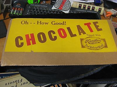 "Vintage 20"" X 8"" Hendlers Oh -- How Good! Chocolate Ice Cream Paper Poster"