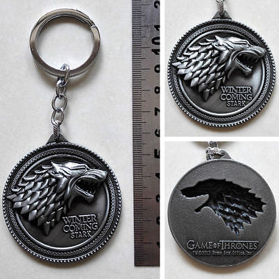 """Key chain ring HBO Game of Thrones House Stark Winter Is Coming Silver 2"""" Metal"""