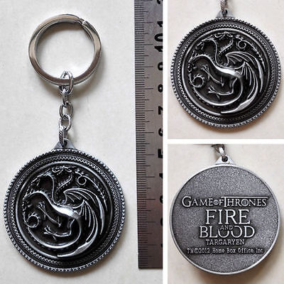"""New HBO Game of Thrones Targaryen Fire And Blood silver 2"""" Metal Key chain ring"""