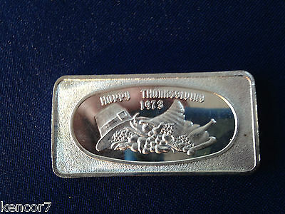 1973 Great Lakes Mint Happy Thanksgiving 1973 GLM-7 Silver Art Bar E4224