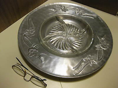 """Everlast Forged Aluminum 14.25"""" Relish Platter # 1145 With Glass Inset"""
