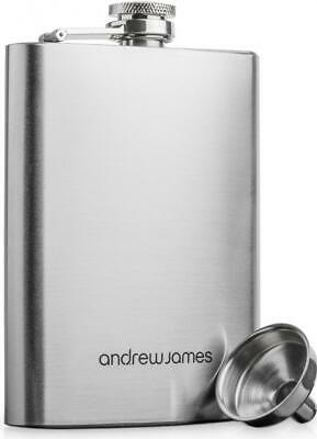 Andrew James Hip Flask Stainless Steel with Funnel 8oz - Perfect for Engraving