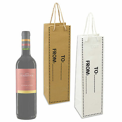 6 x Wine Bottle Gift Bag Party Paper Ribbon Handle Birthday Christmas Wedding