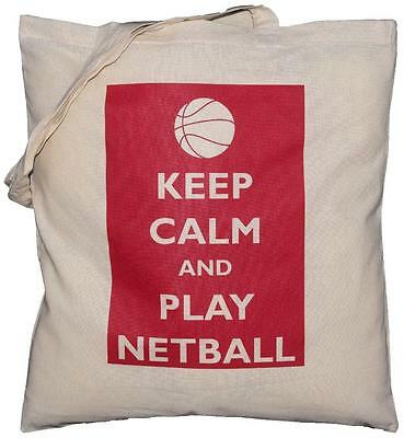 Keep Calm and Play Netball - Natural Cotton Shoulder Bag