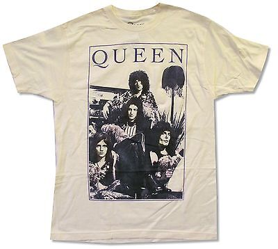 "Queen ""holding Flowers"" Natural T-Shirt New Official Adult Band Music"