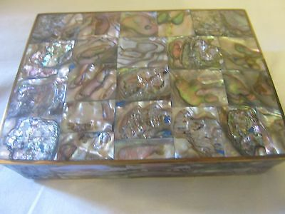 INLAID ABALONE AND BRASS WOOD LINED BOX HECHO EN MEXICO TAXCO