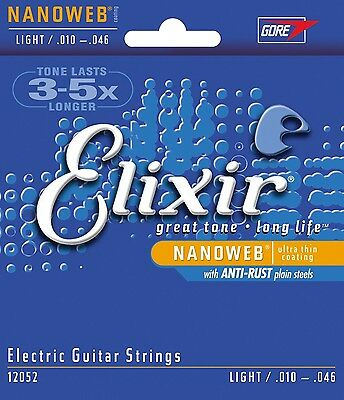 3 Sets! Elixir 12052 Coated Electric Guitar Strings 10-46 Light Free US Shipping