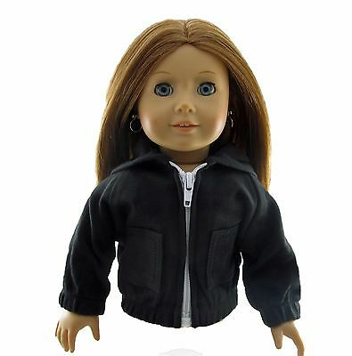 Doll Clothes Hoodie Black Zip fits 18 inch American Girl